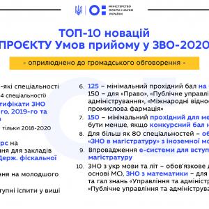 Вступ-2020: у МОН назвали ТОП-10 новацій проєкту Умов прийому до вишів